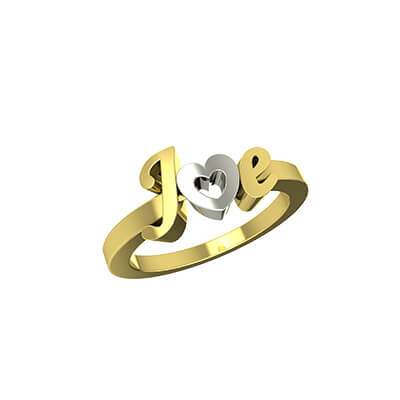 Heart Shaped Initial Gold Ring (2)