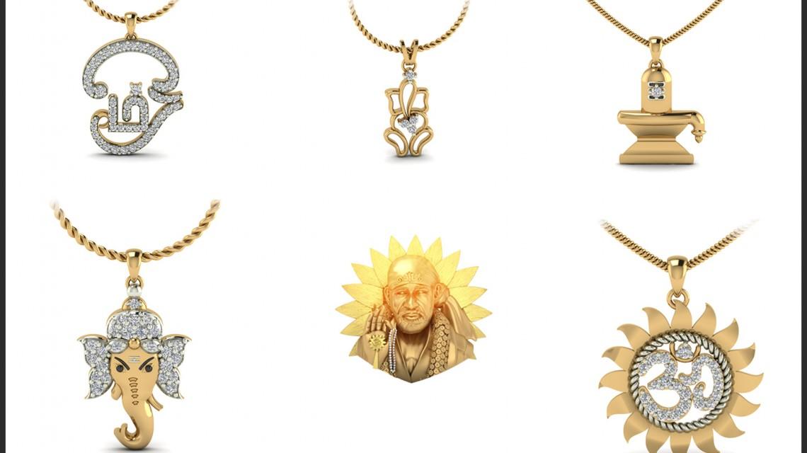 Religious gold diamond pendant designs india1