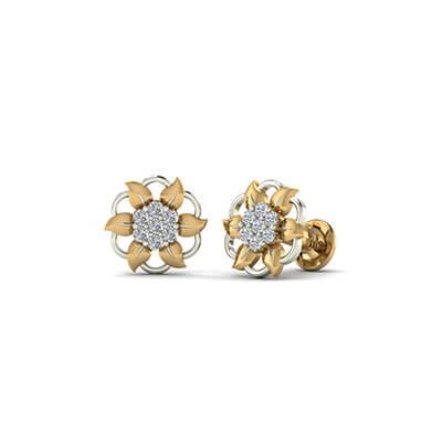 Round Leafs Golden Stud Earrings