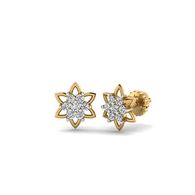 plate art angel jewellery tiny stud flower earrings gold