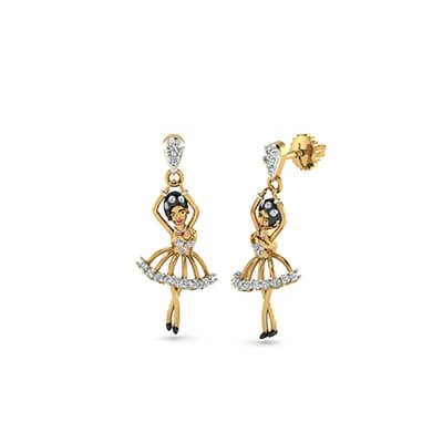 earrings en gold plated drop stud amber