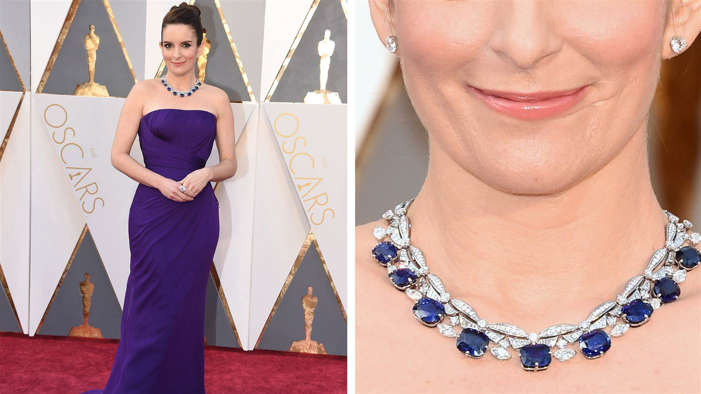 Tina Fey's Sapphire Necklace - oscar 2016