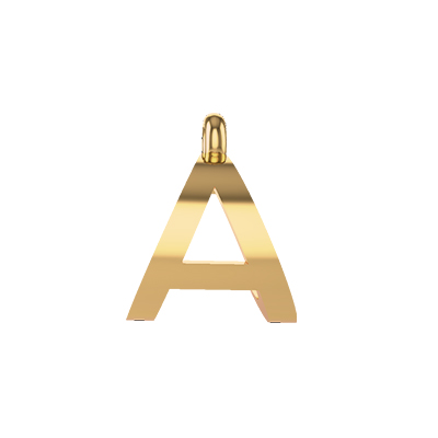 alphabet a pendants gold