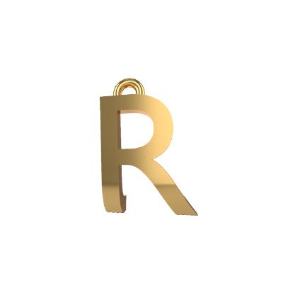 r pendant gold