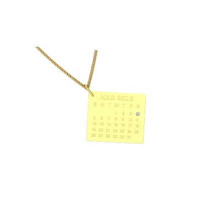 customized calendar pendant in yellow gold with your wedding date and birth date