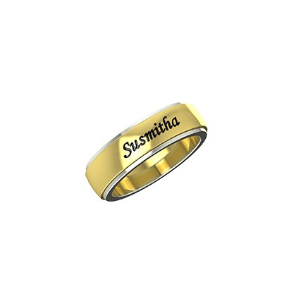 Customized dual tone wedding bands with names in white and yellow gold.