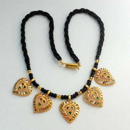Enamel Beads Heart Pendants Mangalsutra