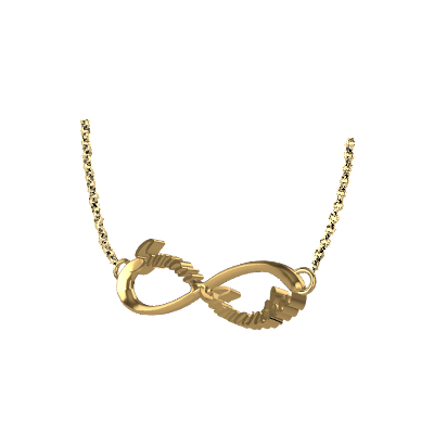 gold infinity pendant with name augrav