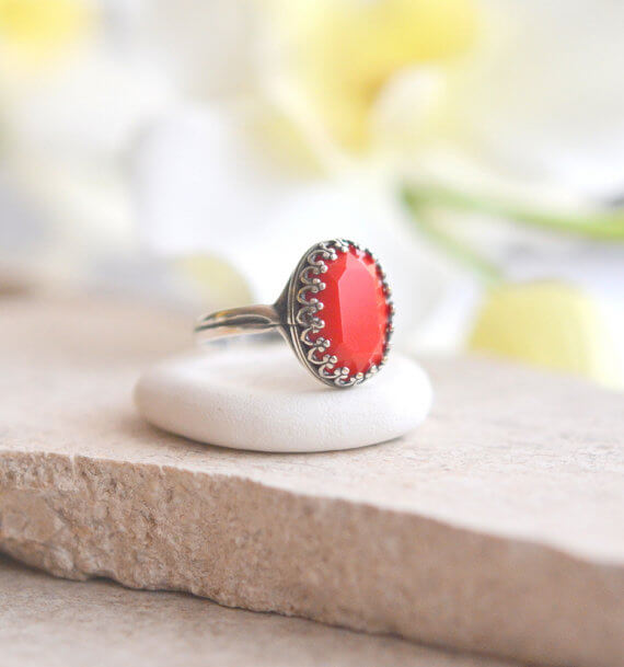 Red Oval Crystal Ring -Swarovski stone