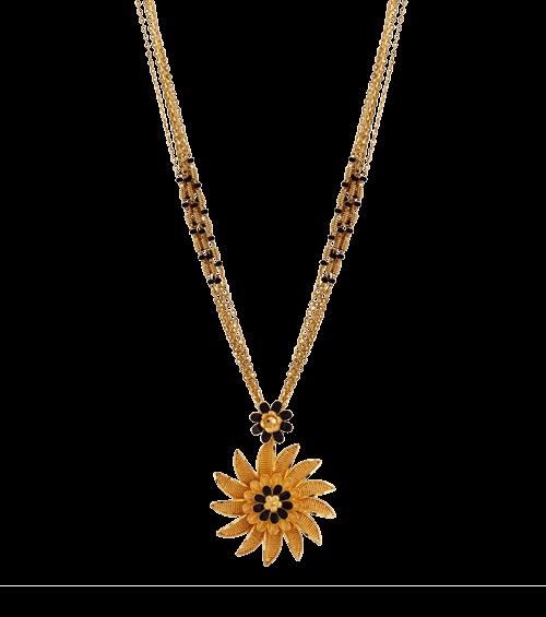 Sunflower mangalsutra designs in gold