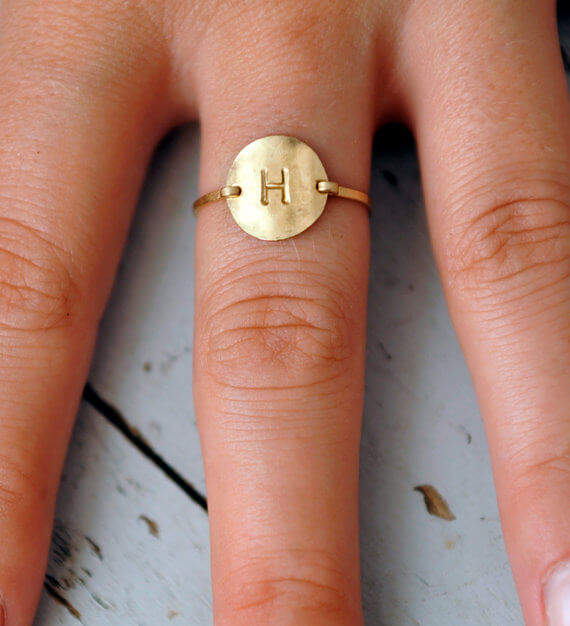 Womens wedding rings with Initial
