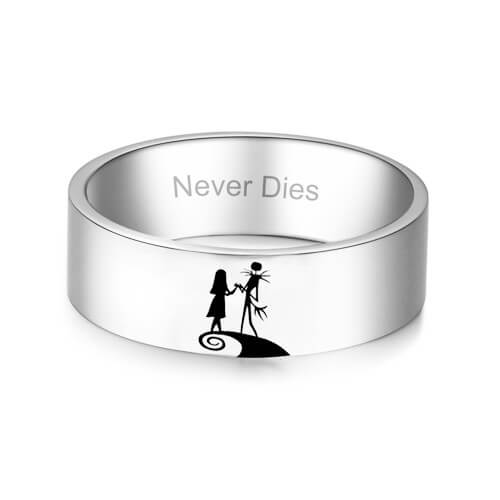 Womens white gold ring with engraving