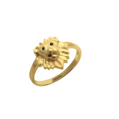 Gold Lion Ring For Boys