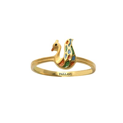 Gold Peacock Ring For Baby Girl AuGrav