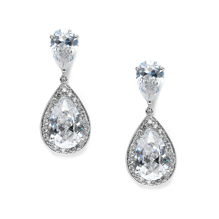 Tear drop diamond earring
