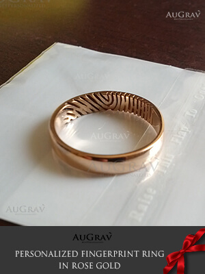 Fingerprint Rose Gold Ring, 18K Custom made Wedding Ring