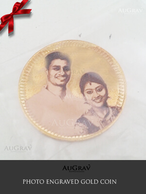 Custom Printed Gold Coin, Custom Photo Engraved Gold Coin