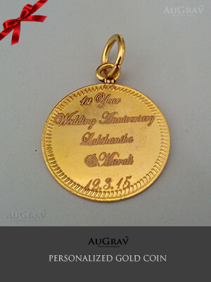 Customized 20gms gold coin, 20gm Photo Engraved Gold Coin