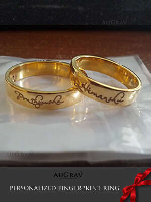 Personalized Love Fingerprint Rings, Customized Ring with Inside and Outside Engraving