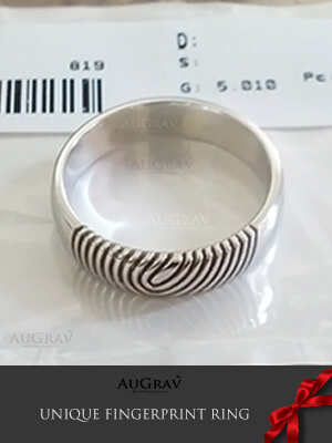 Wedding Ring On The Wedding Ring, Diamond Engagement Ring With Fingerprint