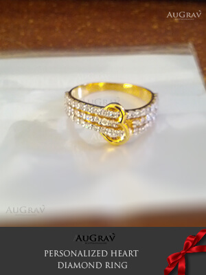 Yellow Gold heart diamond Bands