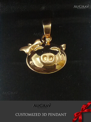 3D Printed Yellow gold Pendant, Piggy 3D gold Pendant