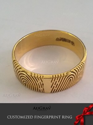 Yellow Gold Fingerprint Custom Rings