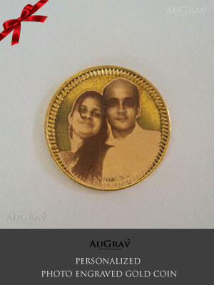 22K Gold Coin With Photo Engraved, Custom Made Gold Coin
