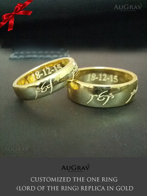 Lord Of the ring replica In white gold, Wedding Rings With Elvish Engraving