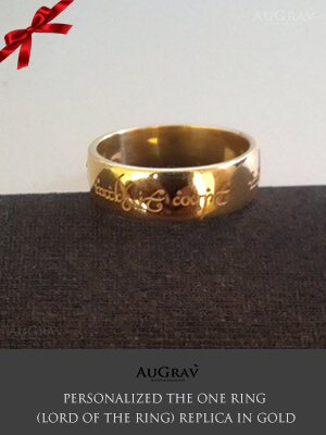 Lord of the ring engagement ring in gold, Elvish Love Ring Engraved