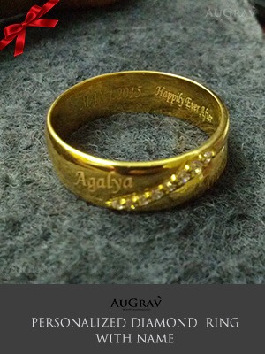 Gold ring for men with name printed, Couple Love bands with engraving