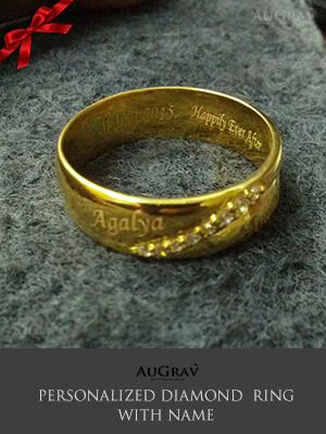 Name Engraved Gold Rings Wedding Couple Rings Wedding Rings