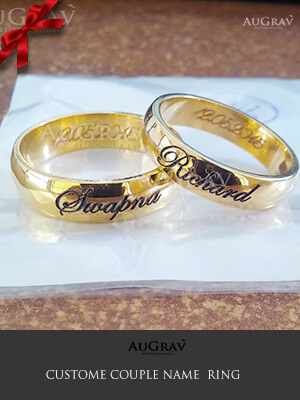 Name Engraved Gold Rings Wedding Couple