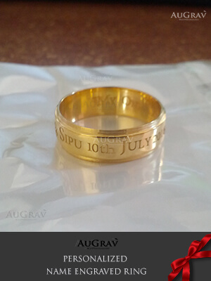 name ring gold me hand her rings engraved wedding flower forget mm not for