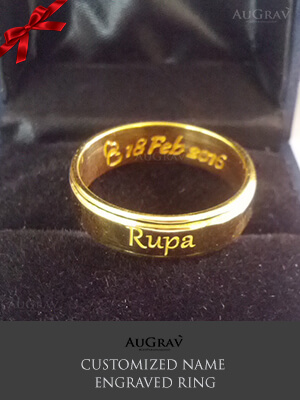 Couple Ring with name on it, Custom Name Gold Ring Making