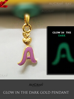 Custom Letter A Pendant In Gold, Multi Color name Pendant