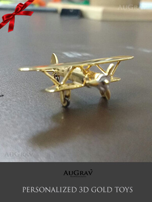 Gold Aeroplane Toy For Kids, Gold Toy Gifts For Babies