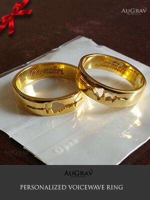 Couple Ring Engraved With Voice Wave, Your Voice Wave Engraved Rings, Sound Wave Engraved Gold Rings