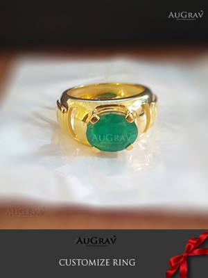 Yellow gold ring with green stone