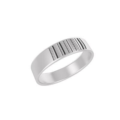 Barcode Engraved Silver Ring (2)