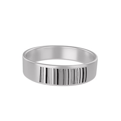 Barcode Engraved Silver Rings (1)