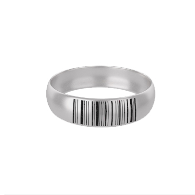 Customized Silver Ring With Barcode (1)