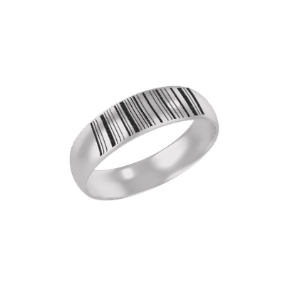 Customized Silver Ring With Barcode (2)