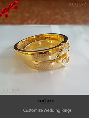 Name Engraved Gold Ring For Women, Initial Engraved White Gold Ring