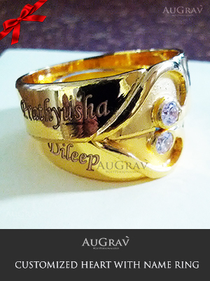Customized Couple Wedding Ring, Personalized Couple Yellow Rings With Engraving