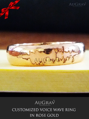 Couple Ring Engraved With Voice Wave