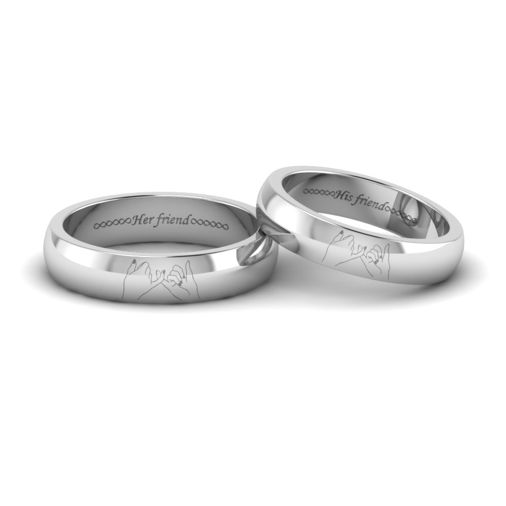 Name Engraved Platinum Couple Rings