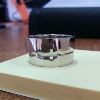 Customized See Through Cross Platinum Ring