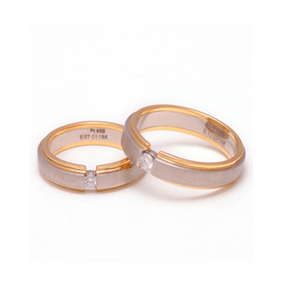 Designer Platinum YellowGold Couple Ring for Him & Her(2)