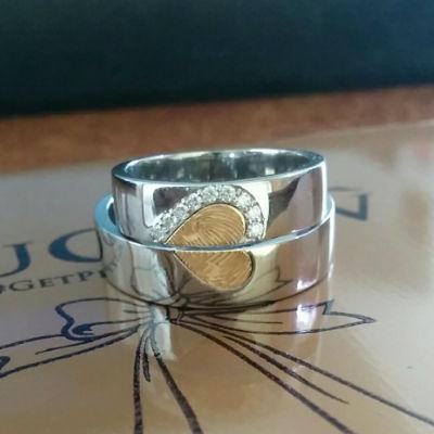 FingerPrints Engraved YellowGold Platinum Heart Ring (1)